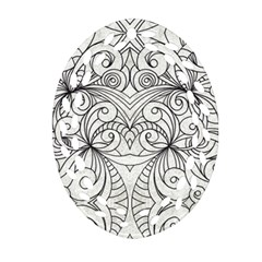 Drawing Floral Doodle 1 Ornament (oval Filigree)  by MedusArt