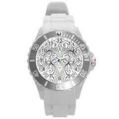 Drawing Floral Doodle 1 Round Plastic Sport Watch (l) by MedusArt
