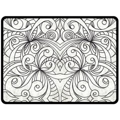 Drawing Floral Doodle 1 Double Sided Fleece Blanket (large)  by MedusArt