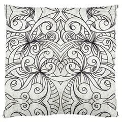 Drawing Floral Doodle 1 Large Flano Cushion Cases (one Side)  by MedusArt