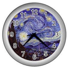 Van Gogh Starry Night Wall Clocks (silver)  by fineartgallery