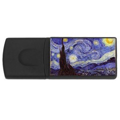 Van Gogh Starry Night Usb Flash Drive Rectangular (4 Gb)  by fineartgallery