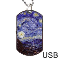 Van Gogh Starry Night Dog Tag Usb Flash (two Sides)  by fineartgallery