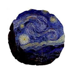 Van Gogh Starry Night Standard 15  Premium Round Cushions by fineartgallery