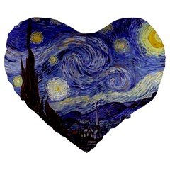 Van Gogh Starry Night Large 19  Premium Heart Shape Cushions by fineartgallery