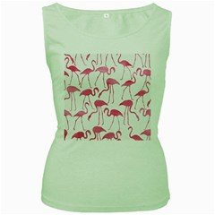 Pink Flamingos Pattern Women s Green Tank Tops by Patterns