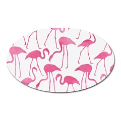Pink Flamingos Pattern Oval Magnet by Patterns