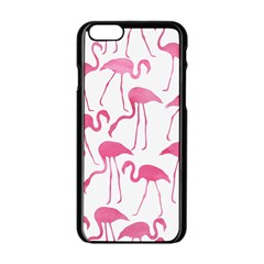 Pink Flamingos Pattern Apple Iphone 6/6s Black Enamel Case