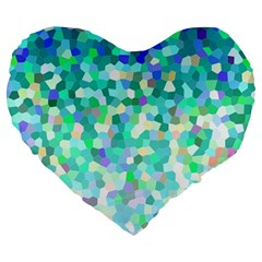 Mosaic Sparkley 1 Large 19  Premium Flano Heart Shape Cushions by MedusArt