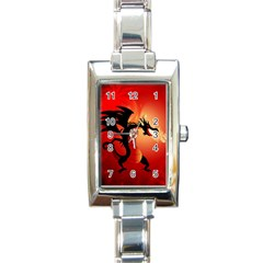 Funny, Cute Dragon With Fire Rectangle Italian Charm Watches by FantasyWorld7