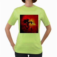 Funny, Cute Dragon With Fire Women s Green T-shirt by FantasyWorld7