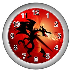 Funny, Cute Dragon With Fire Wall Clocks (silver)  by FantasyWorld7