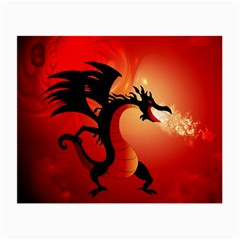 Funny, Cute Dragon With Fire Small Glasses Cloth (2 Side) by FantasyWorld7