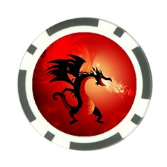 Funny, Cute Dragon With Fire Poker Chip Card Guards by FantasyWorld7