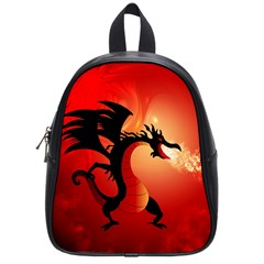 Funny, Cute Dragon With Fire School Bags (small)  by FantasyWorld7