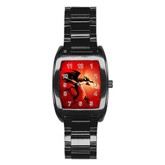 Funny, Cute Dragon With Fire Stainless Steel Barrel Watch by FantasyWorld7