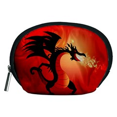Funny, Cute Dragon With Fire Accessory Pouches (medium)  by FantasyWorld7