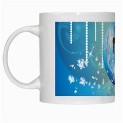 Wonderful Christmas Ball With Reindeer And Snowflakes White Mugs by FantasyWorld7