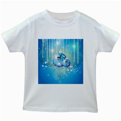 Wonderful Christmas Ball With Reindeer And Snowflakes Kids White T Shirts