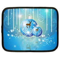 Wonderful Christmas Ball With Reindeer And Snowflakes Netbook Case (xxl)  by FantasyWorld7