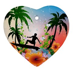 Tropical Design With Surfboarder Ornament (heart)  by FantasyWorld7
