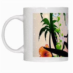Tropical Design With Surfboarder White Mugs by FantasyWorld7