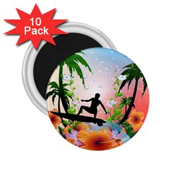 Tropical Design With Surfboarder 2 25  Magnets (10 Pack)  by FantasyWorld7