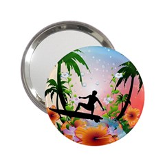 Tropical Design With Surfboarder 2 25  Handbag Mirrors by FantasyWorld7