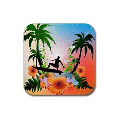 Tropical Design With Surfboarder Rubber Coaster (square)  by FantasyWorld7