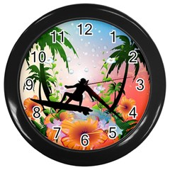 Tropical Design With Surfboarder Wall Clocks (black) by FantasyWorld7