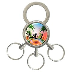 Tropical Design With Surfboarder 3 Ring Key Chains by FantasyWorld7