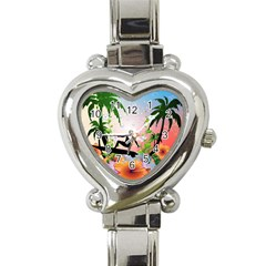 Tropical Design With Surfboarder Heart Italian Charm Watch by FantasyWorld7