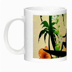 Tropical Design With Surfboarder Night Luminous Mugs by FantasyWorld7