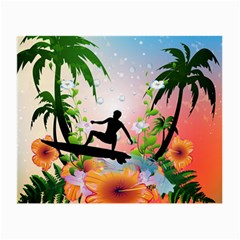 Tropical Design With Surfboarder Small Glasses Cloth by FantasyWorld7
