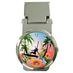 Tropical Design With Surfboarder Money Clip Watches by FantasyWorld7