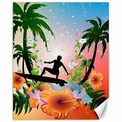 Tropical Design With Surfboarder Canvas 16  X 20   by FantasyWorld7