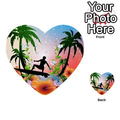 Tropical Design With Surfboarder Multi Purpose Cards (heart)