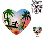 Tropical Design With Surfboarder Multi-purpose Cards (Heart)  Back 1