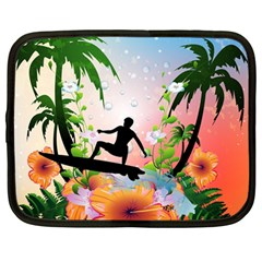 Tropical Design With Surfboarder Netbook Case (large)