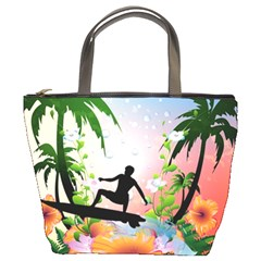 Tropical Design With Surfboarder Bucket Bags by FantasyWorld7