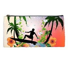 Tropical Design With Surfboarder Pencil Cases