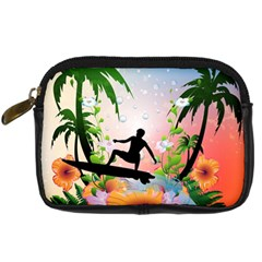 Tropical Design With Surfboarder Digital Camera Cases by FantasyWorld7