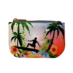 Tropical Design With Surfboarder Mini Coin Purses by FantasyWorld7