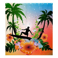 Tropical Design With Surfboarder Shower Curtain 66  X 72  (large)  by FantasyWorld7