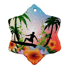 Tropical Design With Surfboarder Snowflake Ornament (2 Side) by FantasyWorld7