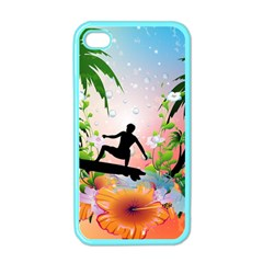 Tropical Design With Surfboarder Apple Iphone 4 Case (color) by FantasyWorld7