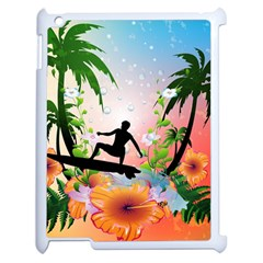 Tropical Design With Surfboarder Apple Ipad 2 Case (white) by FantasyWorld7