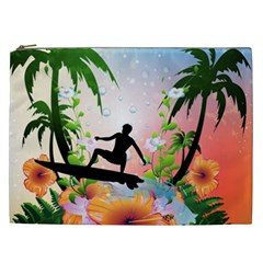 Tropical Design With Surfboarder Cosmetic Bag (xxl)  by FantasyWorld7
