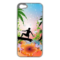 Tropical Design With Surfboarder Apple Iphone 5 Case (silver) by FantasyWorld7