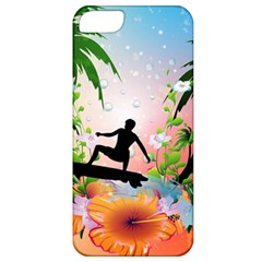 Tropical Design With Surfboarder Apple Iphone 5 Classic Hardshell Case by FantasyWorld7